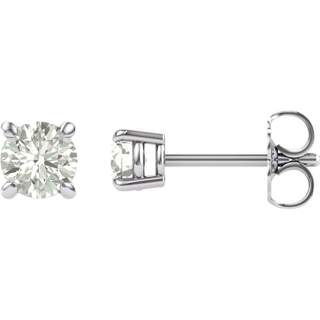14KT White Gold 4mm Round Forever Brilliant Moissanite Earrings