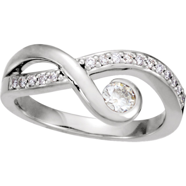 14KT White Gold 4mm Round Forever Classic Moissanite & 1/8 Carat Total Weight Diamond Right-Hand Ring