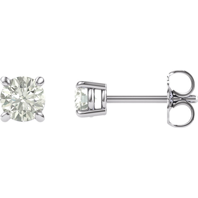 14KT White Gold 4mm Round Forever Classic Moissanite Earrings