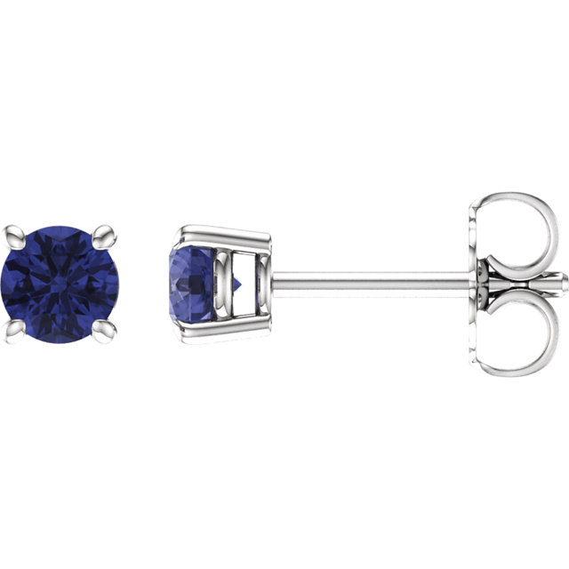 Magnificent 14 Karat White Gold 4mm Round Genuine Tanzanite Earrings