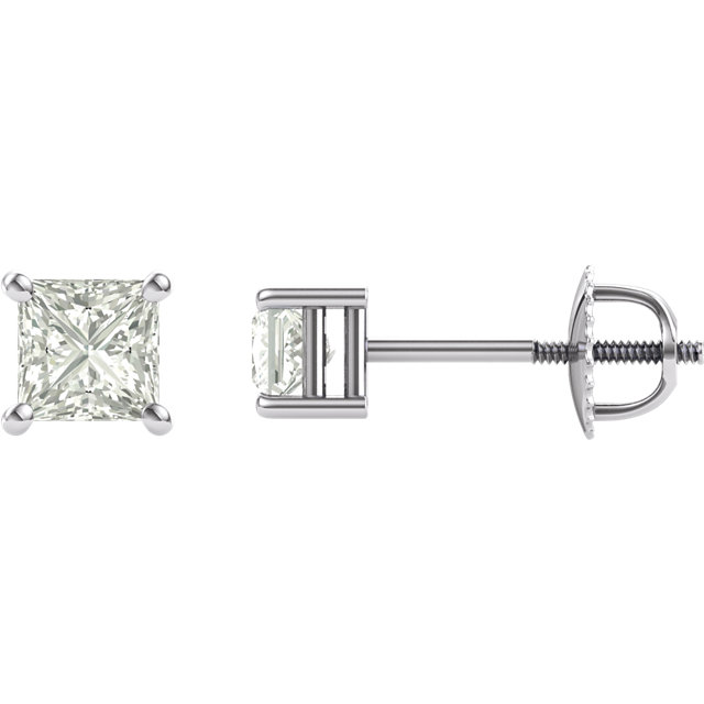 14KT White Gold 4mm Square Forever Classic Moissanite 4-Prong Stud Earrings