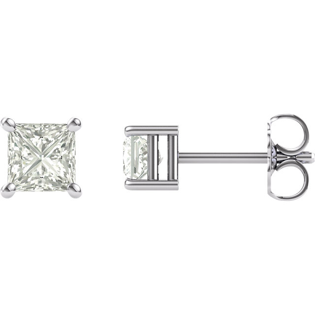 14KT White Gold 4mm Square Forever Classic Moissanite Earrings