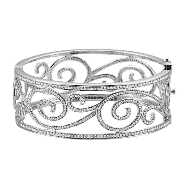 14KT White Gold 5 1/8 CTW Diamond Bangle Bracelet