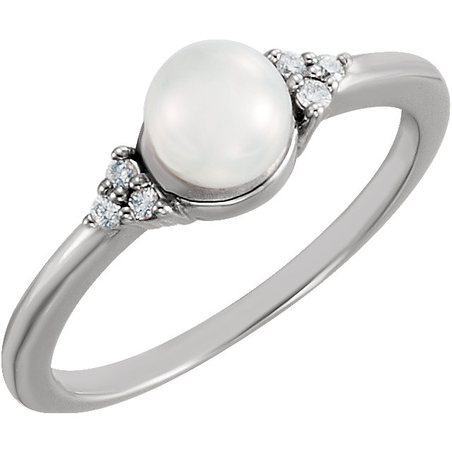 Perfect Gift Idea in 14 Karat White Gold 5.5-6mm Freshwater Cultured Pearl & .06 Carat Total Weight Diamond Ring