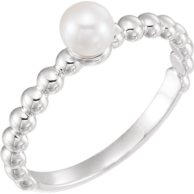 Easy Gift in 14 Karat White Gold 5.5-6mm Freshwater Cultured Pearl Ring