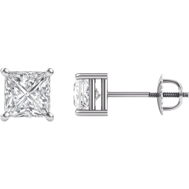 14KT White Gold 5.5mm Square Forever Brilliant Moissanite 4-Prong Stud Earrings