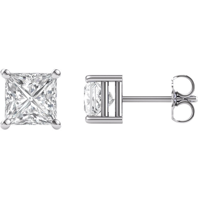 14KT White Gold 5.5mm Square Forever Brilliant Moissanite Earrings