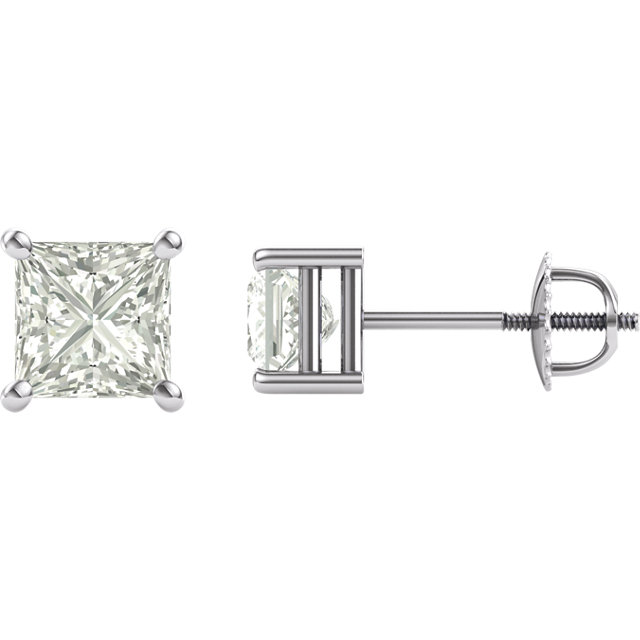 14KT White Gold 5.5mm Square Forever Classic Moissanite 4-Prong Stud Earrings