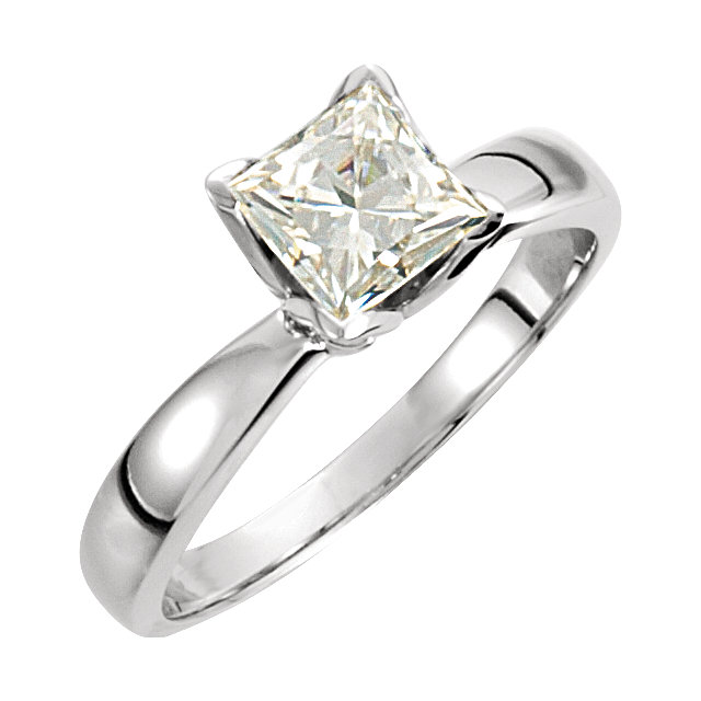 14KT White Gold 5.5mm Square Forever Classic Moissanite Solitaire Engagement Ring