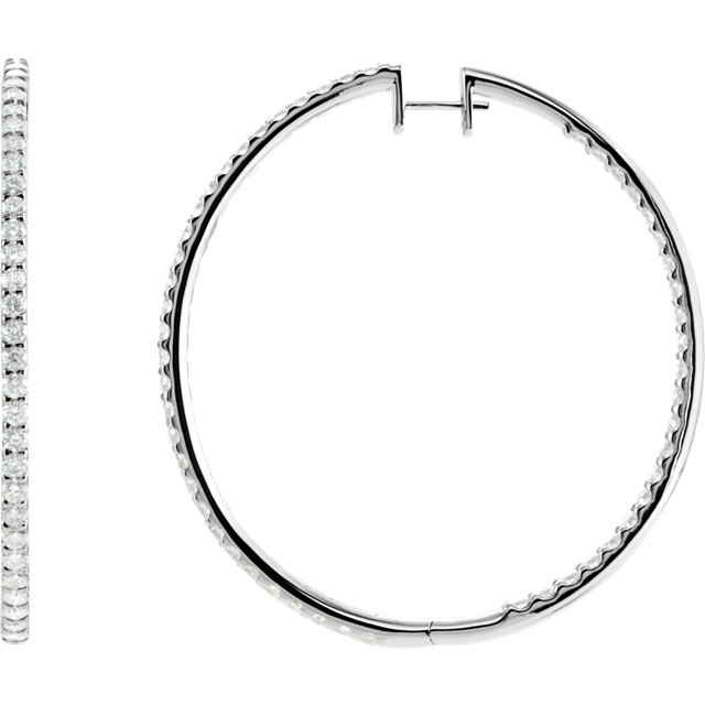 Appealing Jewelry in 14 Karat White Gold 5 Carat Total Weight Diamond Inside/Outside Hoop Earrings