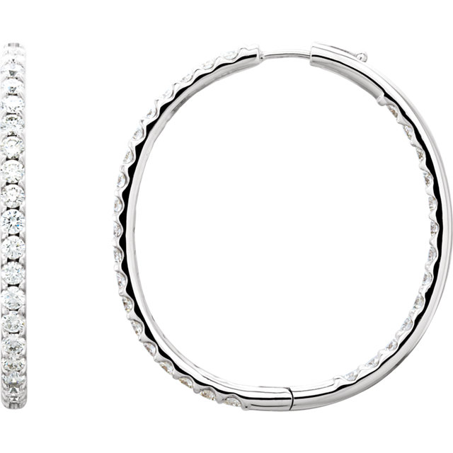 Perfect Jewelry Gift 14 Karat White Gold 5 Carat Total Weight Diamond Inside/Outside Hoop Earrings