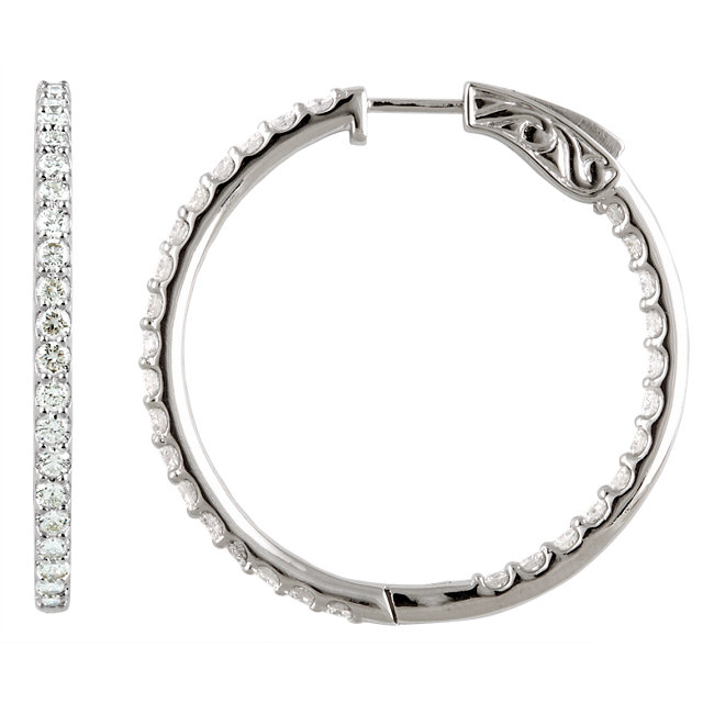 Surprise Her with  14 Karat White Gold 5 Carat Total Weight Diamond Inside/Outside Hoop Earrings