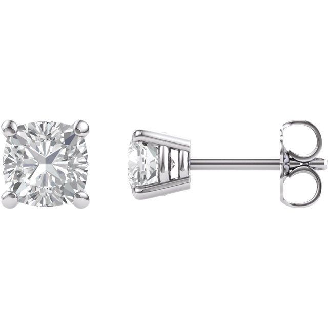 14KT White Gold 5mm Antique Square Forever Brilliant Moissanite 4-Prong Stud Earrings