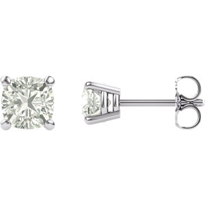 14KT White Gold 5mm Antique Square Forever Classic Moissanite 4-Prong Stud Earrings