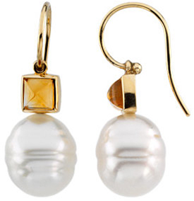 14KT White Gold 5mm Citrine Semi-set Earrings for Pearl