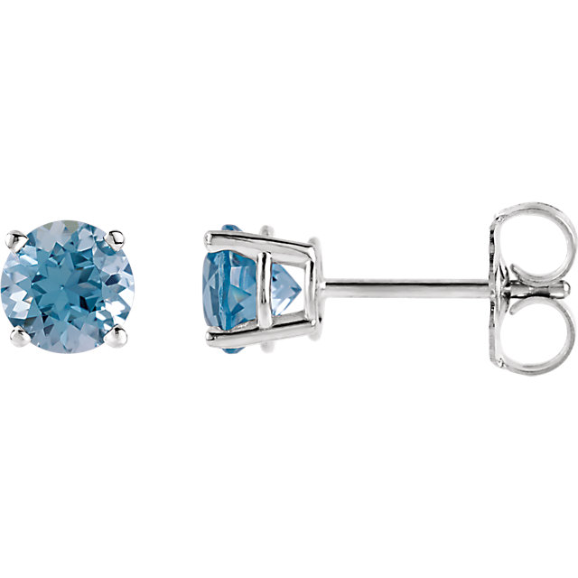Gorgeous 14 Karat White Gold 5mm Round Aquamarine Earrings