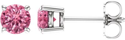 Great Gift in 14 Karat White Gold 5mm Round Baby Pink Topaz Earrings