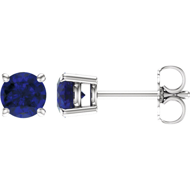 Must See 14 Karat White Gold 5mm Round Blue Sapphire Earrings