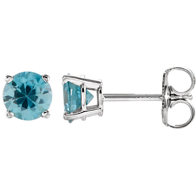 Stunning 14 Karat White Gold 5mm Round Blue Zircon Earrings