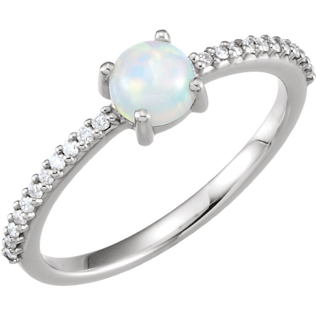 Chic 14 Karat White Gold 5mm Round Cabochon Genuine Chatham Created Created Opal & 0.12 Carat Total Weight Diamond Ring