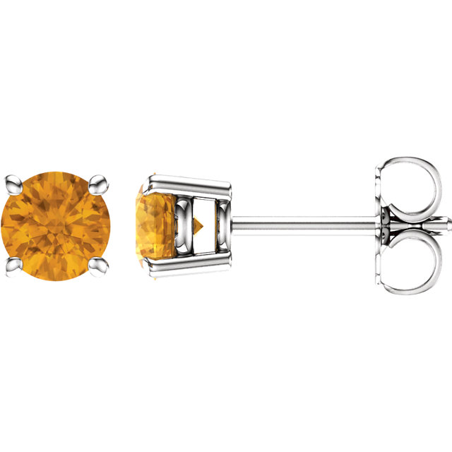 Perfect Gift Idea in 14 Karat White Gold 5mm Round Citrine Earrings