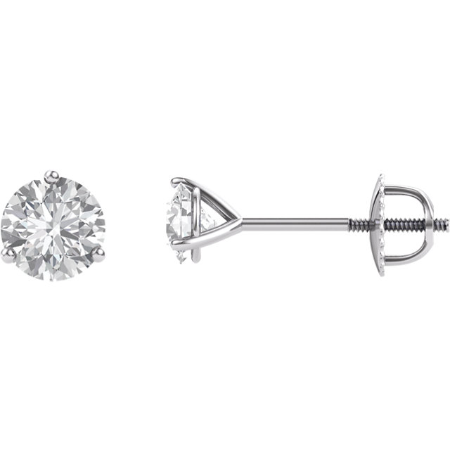 14KT White Gold 5mm Round Forever Brilliant Moissanite Earrings