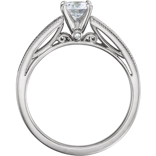 14KT White Gold 5mm Round Forever Classic Moissanite & 1/6 Carat Total Weight Diamond Engagement Ring