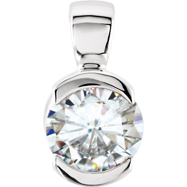 14KT White Gold 5mm Round Forever Classic Moissanite Bezel Set Pendant