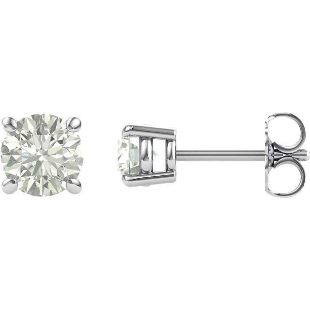 14KT White Gold 5mm Round Forever Classic Moissanite Earrings