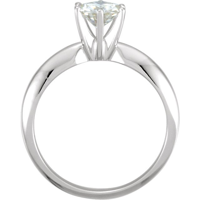 14KT White Gold 5mm Round Forever Classic Moissanite Solitaire Engagement Ring
