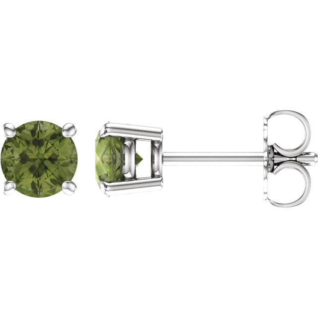 Appealing Jewelry in 14 Karat White Gold 5mm Round Peridot Earrings