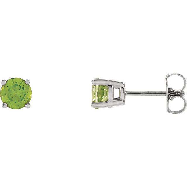 Gorgeous 14 Karat White Gold 5mm Round Genuine Peridot Friction Post Stud Earrings