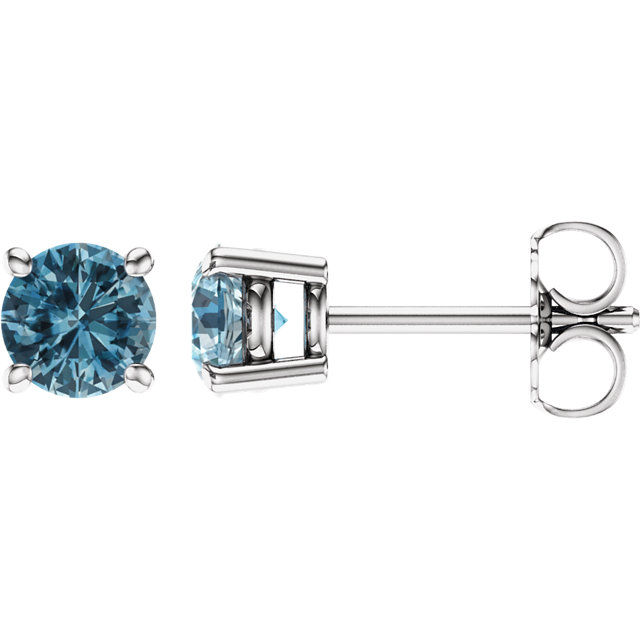 Low Price on 14 KT White Gold 5mm Round Sky Blue Topaz Earrings