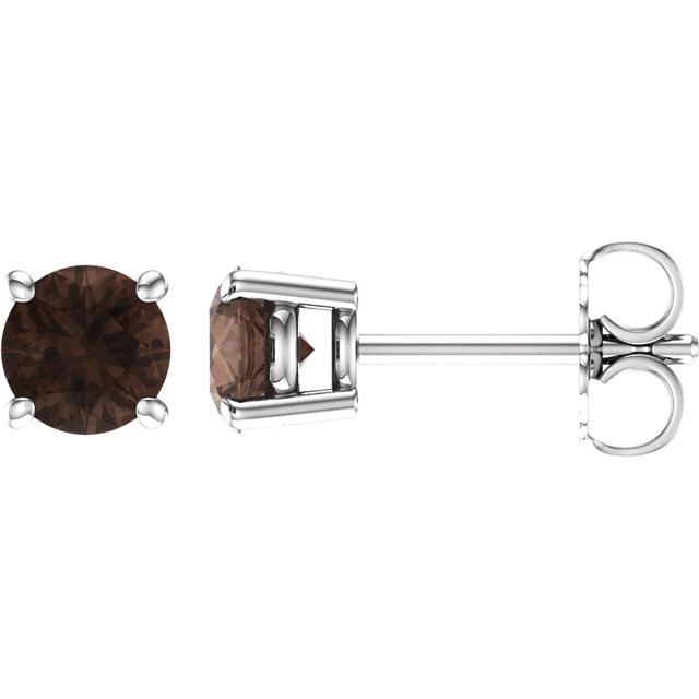 Chic 14 Karat White Gold 5mm Round Smoky Quartz Earrings