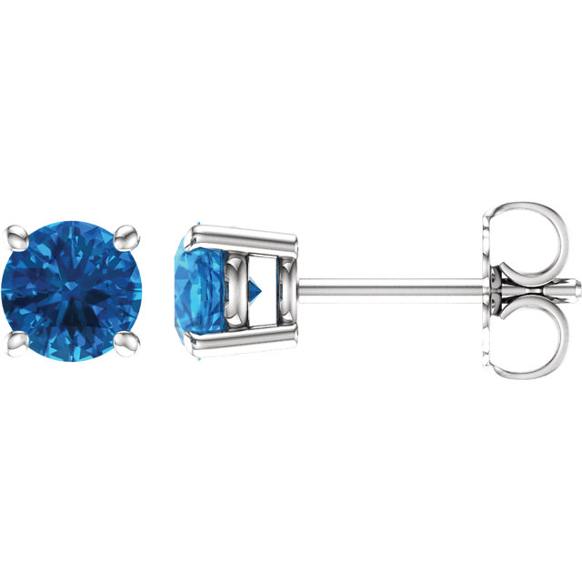Low Price on Quality 14 KT White Gold 5mm Round Swiss Blue Topaz Earrings