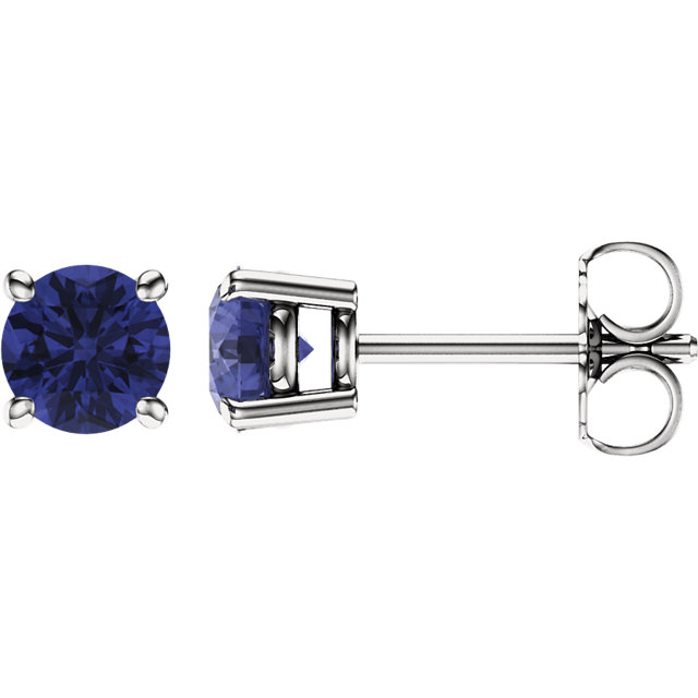 Perfect Gift Idea in 14 Karat White Gold 5mm Round Tanzanite Earrings