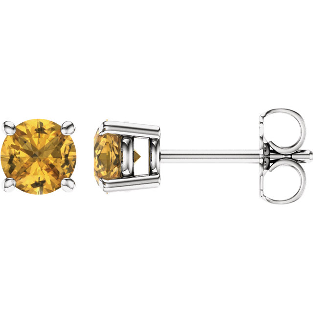 Buy Real 14 KT White Gold 5mm Round Yellow Sapphire Earrings