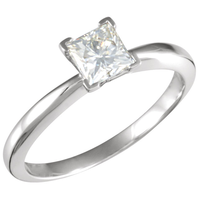 14KT White Gold 5mm Square Forever Classic Moissanite Solitaire Engagement Ring