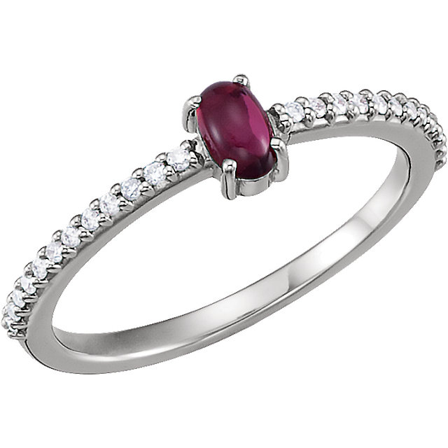 Great Buy in 14 Karat White Gold 5x3mm Oval Cabochon Pink Tourmaline & 0.12 Carat Total Weight Diamond Ring