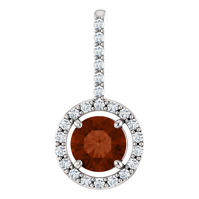 Eye Catchy 14 Karat White Gold 6.5mm Mozambique Garnet & 0.25 Carat Total Weight Diamond Pendant