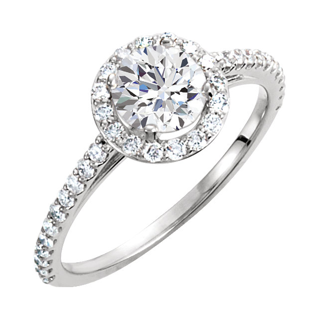 14KT White Gold 6.5mm Round Forever Brilliant Moissanite & 3/8 Carat Total Weight Diamond Engagement Ring