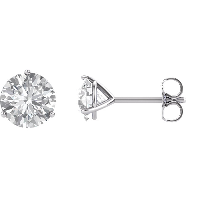 14KT White Gold 6.5mm Round Forever Brilliant Moissanite Earrings