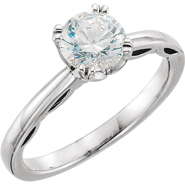 14KT White Gold 6.5mm Round Forever Brilliant Moissanite Solitaire Engagement Ring