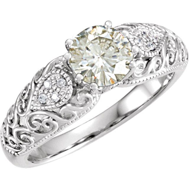 14KT White Gold 6.5mm Round Forever Classic Moissanite & .05 Carat Total Weight Diamond Engagement Ring