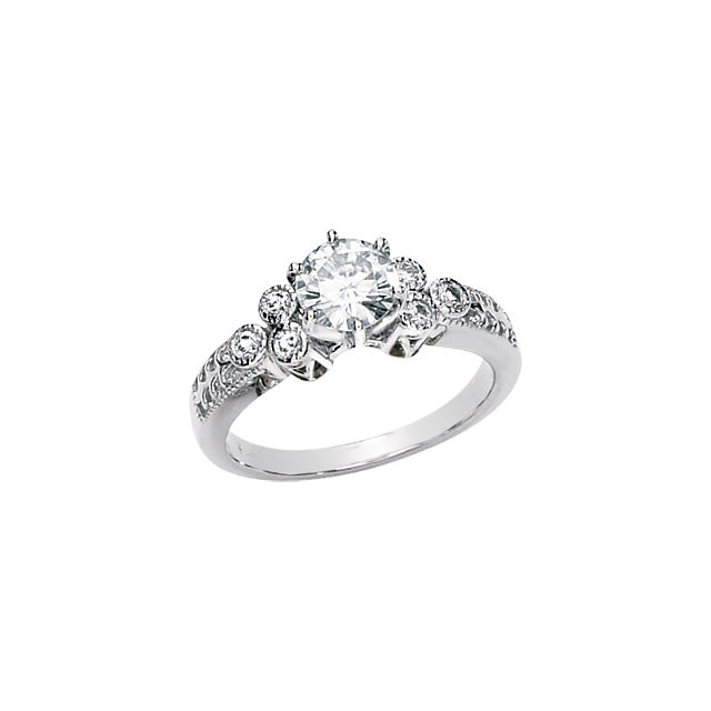 14KT White Gold 6.5mm Round Forever Classic Moissanite & 1/6 Carat Total Weight Diamond Engagement Ring
