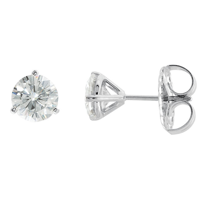 14KT White Gold 6.5mm Round Forever Classic Moissanite 3-Prong Stud Earrings