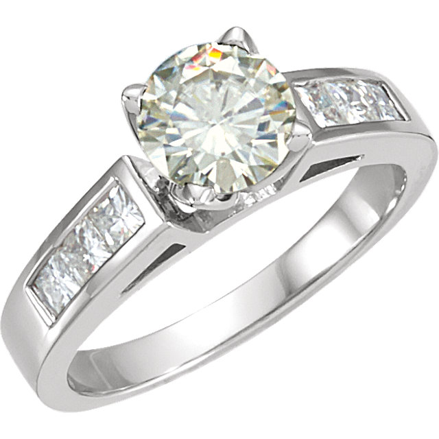 14KT White Gold 6.5mm Round Forever Classic Moissanite & 5/8 Carat Total Weight Diamond Engagement Ring