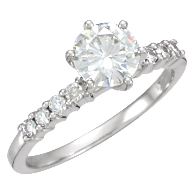 14KT White Gold 6.5mm Round Forever Classic Moissanite Accented Engagement Ring