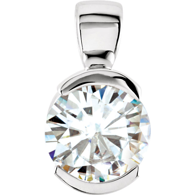 14KT White Gold 6.5mm Round Forever Classic Moissanite Bezel Set Pendant