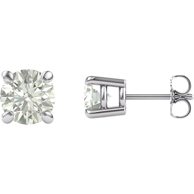 14KT White Gold 6.5mm Round Forever Classic Moissanite  Earrings